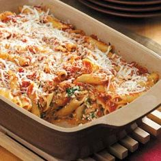 Baked Mostaccioli - I left out the meat. Instead of spaghetti sauce, I used tomato sauce and a can of diced tomatoes and added italian seasoning. I used fat free ricotta and low fat mozz. I also added about a c of spinach to the cheese mix. Italian Dishes, Italian Recipes, New Recipes, Baking Recipes, Dinner Recipes, Favorite Recipes, Italian Spices, Italian Pasta, Rice Recipes