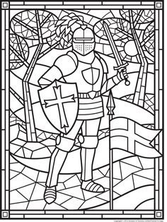 FREE Stained Glass Knight > Make this a cover for the book? Have Eph 6 copyworb in the middle? Medieval Crafts, Medieval Party, Stained Glass Patterns, Stained Glass Art, Colouring Pages, Coloring Books, Kids Coloring, Middle Ages History, Mystery Of History
