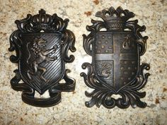 Set of 2 Shield wall plaques coat of arms wall by fleurdelisjunkie
