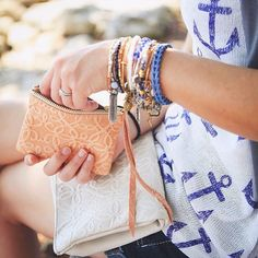 This girl knows how to accessorize! Perfect #vacation style. #alexandani #charmedarms #travel @alexandani