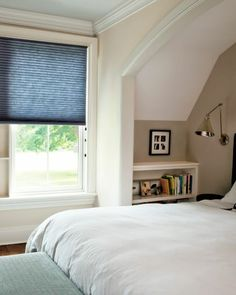 Window finishings, Smith+Noble, Grand Cell Honeycomb shade in an older building