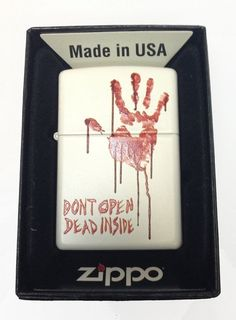"Zippo Custom Lighter Bloody Dead Zombie Hand ""Dont Open Dead Inside"" White Matte"