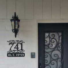 Items similar to Outdoor House Numbers / Steel house numbers / Craftsman house number /Address / House Address on Etsy Victorian House Numbers, Craftsman House Numbers, Metal House Numbers, Victorian Homes, Door Number Sign, Door Numbers, Hanging Photos, Hanging Signs, Circa Houses