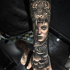 Tiger woman rose skull sleeve