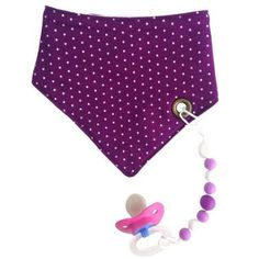 The BEST bibs! Banndana Style polka-dot bib with chewable beads and pacifier holder!