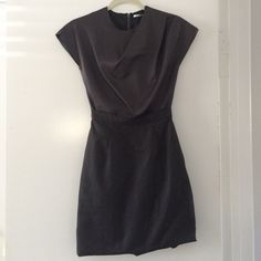 Uniglo silk top dress in Steel. Steel grey dress with silk top and cotton bottom. Zip back. Bubble bottom hem. UNIQLO Dresses
