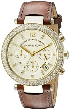 Michael Kors Womens MK2249 Parker GoldTone Stainless Steel Watch with Crystals ** Read more  at the image link.
