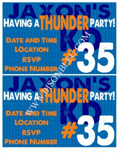 Thunder Party 35 Printable Invitations 2 Per 85x11 by bisonbleu, $2.95