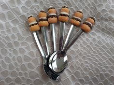 cuillères gourmandes fimo petits desserts x6
