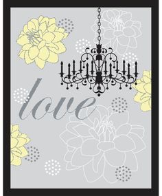 Gray yellow shabby chic love wall art 11X14  by carywalston, $17.00
