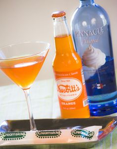 Liquid Creamsicle  Serves 2      7 ounces orange soda  3 ounces Pinnacle whipped cream vodka        Fill a cocktail shaker halfway with ice. Pour ingredients into the cocktail shaker, shake gently, strain, and serve into martini glasses.      For a little extra fun, top with a dollop of whipped cream.