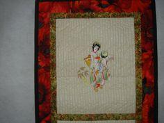 Machine Embroidered Geisha Wall Hanging