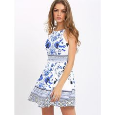 Blue Floral Print Spaghetti Strap Skater Dress ($28) ❤ liked on Polyvore featuring dresses, floral dress, white floral print dress, blue dress, floral print dress and a line dress