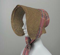 Bonnet, 1835, the Museum of Fine Arts, Boston    Black and yellow herringbone straw bonnet, plaid taffeta ribbons.