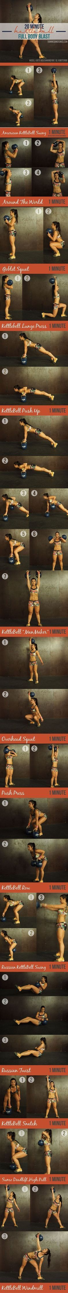 20 Minute Full Body Fat Loss Kettlebell Workout Circuit! Find more like this at http://gympins.com