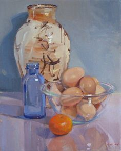 "Wall art still life original oil  ""Asian Ceramic Vase and Brown Eggs"" ©2012 by SedwickStudio"