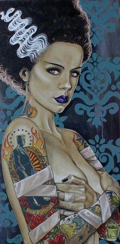 ☆ Tattooed Frankenstein's Bride :: Artist Unknown ☆