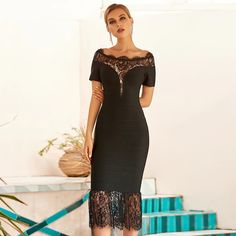Fleepmart 2020 New Summer Women Black Lace Bandage Dress Sexy Hollow Out Off Shoulder Celebrity Evening Runway Party Bodycon Dresses