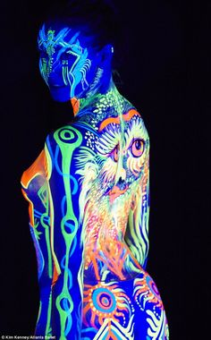 Head to head: The body painters competed for Emerging Artists awards...
