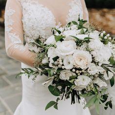 Green and white full bouquet. Wedding Coordinator, Wedding Planner, Birmingham Alabama, Wedding Flowers, Wedding Dresses, Bride Bouquets, Wedding Designs, White Flowers, Brides