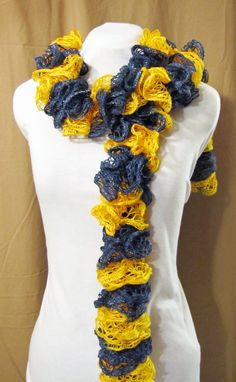Buy Blue and Gold Knit Ruffle Scarf; Spiral Scarf; University of West Virginia Mountaineers by appalachiansoulgifts. Explore more products on http://appalachiansoulgifts.etsy.com