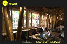 Hubud – Bali (Indonésia) O espaço interior tem acabamentos em bambu e madeira reciclada. É um espaço sustentável com vista para um vulcão e um campo de arroz. Aberto 24h, pode-se escolher trabalhar num espaço ao ar livre ou fechado (ventilado). Há também uma sala de conferências para mais de 20 pessoas e uma cabine para fazer chamadas no Skype. No jardim, um café orgânico que abriga até 30 eventos por mês.