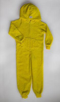 EZ Dry Onezie on yellow. The original children's towel onesie.