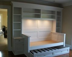 good use of a smaller bedroom - interior design, home decor, furniture, beds, shelving