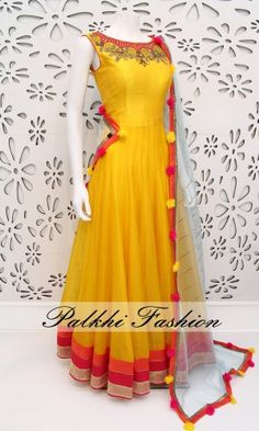 PalkhiFashion Exclusive Full Flair Light Yellow Pure Silk Outfit with Elegant Work and Duppata. Anarkali Dress, Pakistani Dresses, Indian Dresses, Indian Outfits, Indian Attire, Indian Ethnic Wear, Indian Designer Outfits, Designer Dresses, Churidar Designs