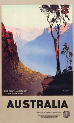 Blue Mountains by James Northfield - The Blue Mountains, 1930s. Northfield captures the majestic blue hazed mountains and the towering Eucalypts of this awe-inspiring World Heritage listed site. Commissioned by the Australian National Travel Association.