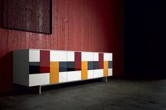 Lacquered stained glass sideboard with doors Glass Collection by Dall'Agnese Geometric Furniture, Design Furniture, Dining Room Furniture, Luxury Furniture, Cool Furniture, Handmade Furniture, Glass Sideboard, Modern Sideboard, Mosaic Glass