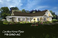 Country style home plan with spacious open floor layout, garage, 2 master bedrooms and bonus room above garage. 3d House Plans, Open Floor House Plans, Porch House Plans, Floor Plans, Country Style House Plans, Country Style Homes, Cute Cottage, Cottage Style, Room Above Garage