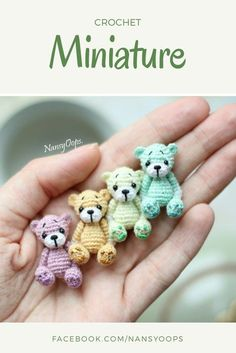 Crochet Amigurumi Ideas Crochet pattern crochet toy amigurumi miniatures little toys - Crochet Bear Patterns, Amigurumi Patterns, Crochet Animals, Knitting Patterns, Sewing Patterns, Afghan Patterns, Crochet Ideas, Crochet Teddy, Love Crochet
