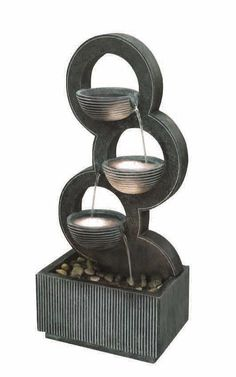The Stacked Circular Bowls Water Feature will add a touch of style to your home decor. Decorative Water Fountain, Tabletop Water Fountain, Garden Water Fountains, Diy Fountain, Small Fountains, Indoor Fountain, Indoor Water Features, Small Water Features, Water Features In The Garden