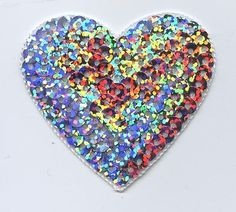 """Iron-On Applique Embroidered Patch Valentines Large Silver Sequin Heart 2"""""""