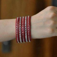 Genuine-Leather Studded Bracelet