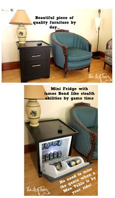Looking for the PERFECT gift for Dad this Father's Day?! Grab a Man Table!! End Table by day, Mini Fridge by Game Time!
