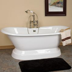 The Aubrey Cast Iron Double-Ended Tub features a decorative plinth and ample size that offers a relaxing bath for one or two people. Pair this freestanding tub with a modern or traditional tub faucet to complement your bathroom decor. Jacuzzi Bathroom, Steam Showers Bathroom, Master Bathroom, Master Closet, Master Suite, Pedestal Tub, Cast Iron Bathtub, Bathroom Renovations, Bathroom Ideas