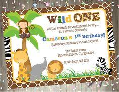 Wild One Birthday Invitation 1st birthday Invite Jungle