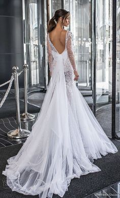 "dimitrius dalia 2018 royal long sleeves deep v neck heavily embellished bodice tulle skirt sexy trumpet wedding dress chapel train (3) bv -- Dimitrius Dalia ""Royal"" Wedding Dresses 