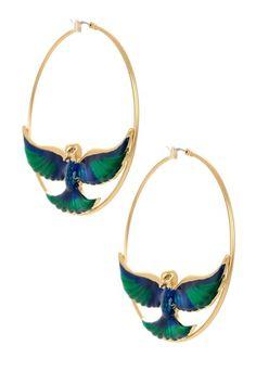 Bird Hoop Earrings