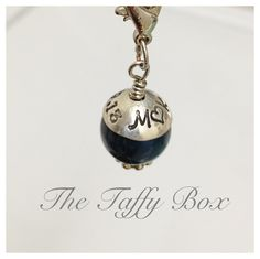 """Something Blue"" for the bride to be! Hand stamped keepsake charm for bouquet or garter."