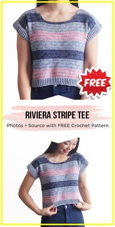 crochet Riviera Stripe Tee free pattern - easy crochet tee pattern for beginners Crochet Jumper Pattern, Jumper Patterns, Top Pattern, Free Pattern, Crochet Girls, Crochet Woman, Easy Crochet, Crochet Ideas, Crochet Projects