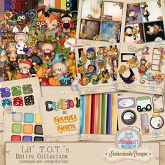 Lil T.O.T.'s is a collaboration between SnickerdoodleDesigns and Kimberkatt Scraps. Lil T.O.T.'s has everything you need to create adorable, amazing scrapbook pages, for Halloween and Fall, but is versatile enough to use for any occasion. Lil T.O.T.'s Page Kit Lil T.O.T.'s Dots, Stripes, Solids Lil T.O.T.'s Stackers Lil T.O.T.'s Quick pages Lil T.O.T.'s Clusters Lil T.O.T.'s Page Borders Lil T.O.T.'s Alphas Lil T.O.T.'s Journal Cards Lil T.O.T.'s Glitter Styles Lil T.O.T.'s Cardstock Styles
