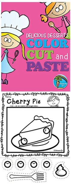 Fun activities focusing on advanced scissor skills. In addition to cutting skills you can focus on developing your students listening skills by having them follow your instructions with regards to color choices and/or prepositional language (e.g. place the cream on top of the cherry pie). $