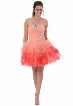 Tonal Ruffle Short Prom Dress at Amazon Women's Clothing store