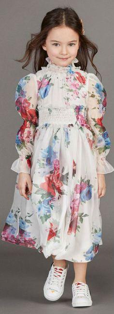 Pretty! DOLCE & GABBANA Girls Mini Me Long Ivory Silk Chiffon Dress. #dolcegabbana #minime #girl #kidsfashion #kids #fashion #style
