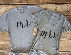 If comfort is the goal for you and your groom, opt for these gray Mr. and Mrs. tees. Pair with jeans and your favorite sneakers for a laidback look. | Stylish Engagement Party Attire for the Groom