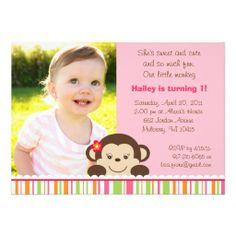 Little Miss Monkey Photo Birthday Invitations