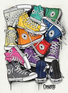 CONVERSE - Juan Morant (via Behance). Obvious influence from pop art, however wouldn't class this piece as a work of pop art - more modern art. The use of bright colours and the way the shoes are laid out make them look like they are joined making the ima Art And Illustration, Inspiration Art, Arte Pop, Shoe Art, Art Plastique, Retro, All Star, Art Drawings, Street Art
